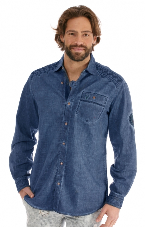German traditional shirt Alrik blue