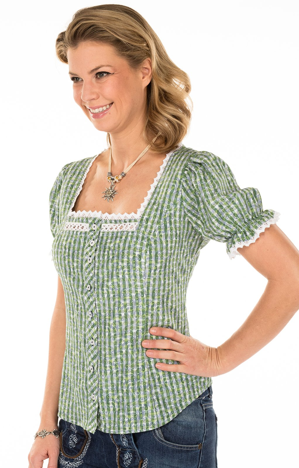 weitere Bilder von Trachtenbluse ALBINA grün Miederbluse