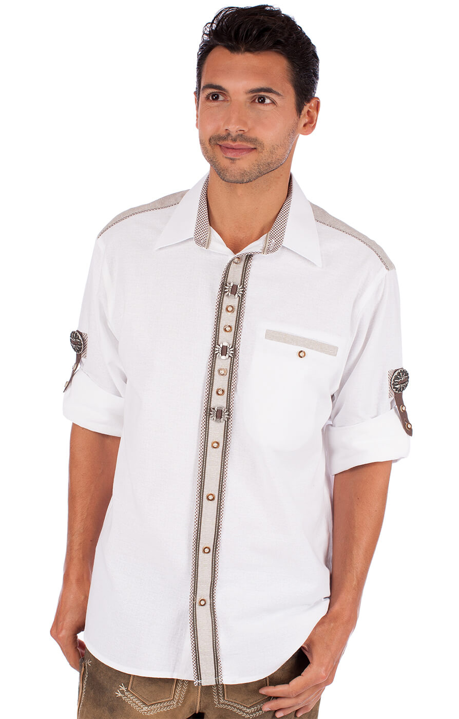 German traditional shirt Filando white von OS-Trachten