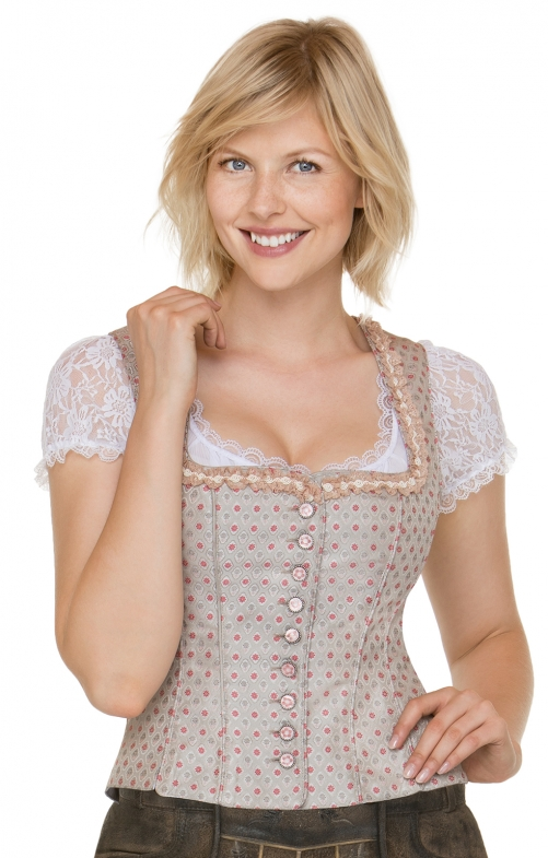 Traditional dirndl corsage Adina taupe