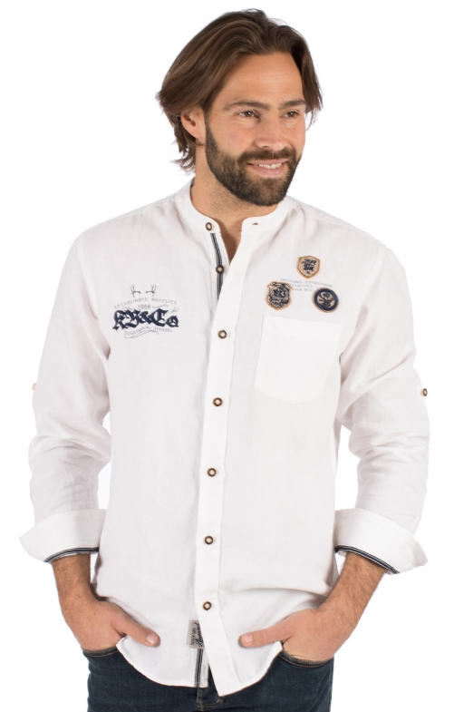 Trachtenhemd Langarm LAURENZ weiß