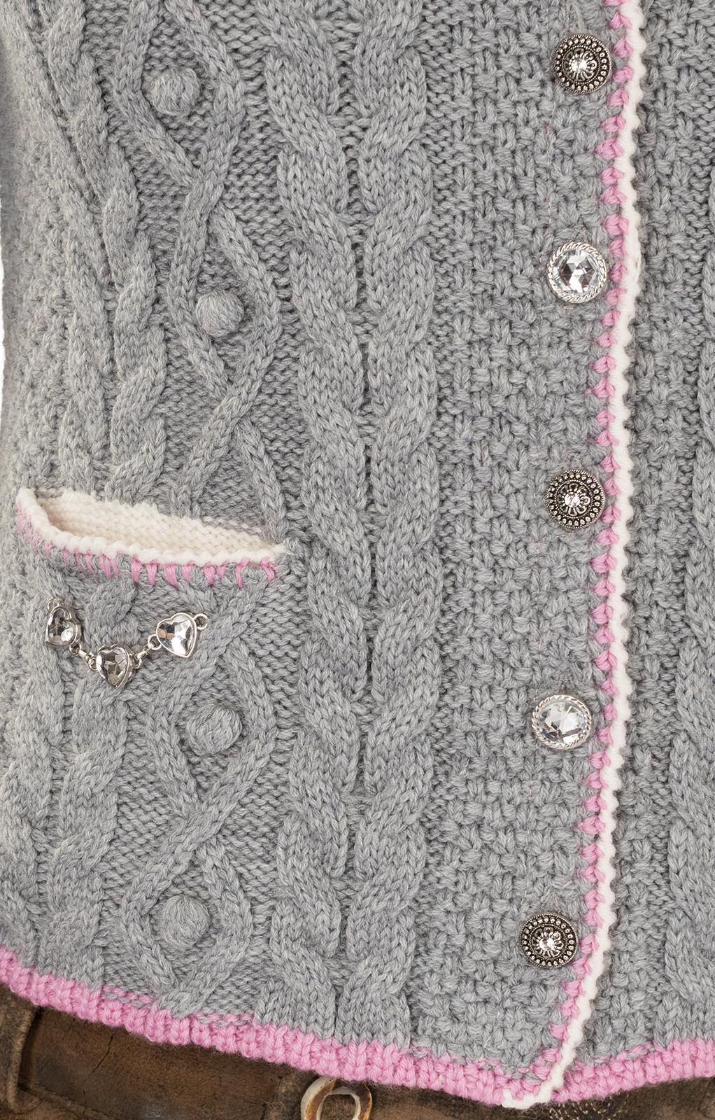 weitere Bilder von Trachtenstrickjacke AIDA hellgrau rosa