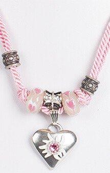 Kette mit 2facher Kordel und Herz, rosa