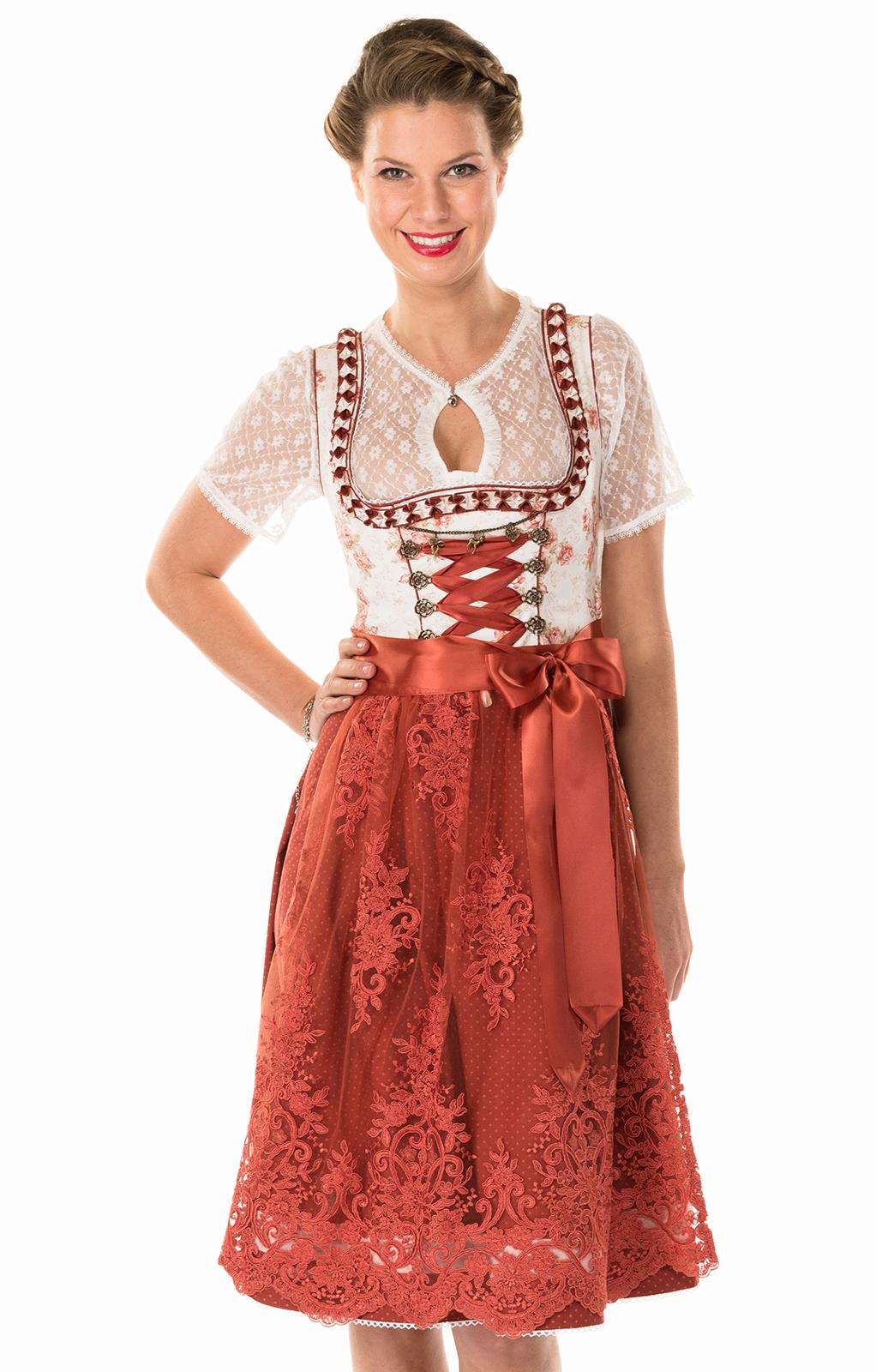 Mididirndl 65cm 2pz. bianco rosa von Marjo