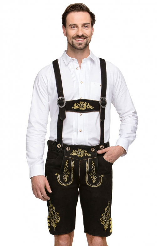 German leather trousers with suspenders RUPERT black yellow