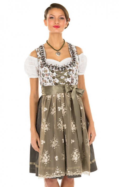 Minidirndl 2pcs. 58 cm BERNA white brown