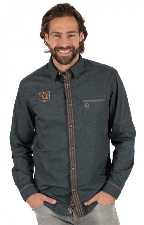 German traditional shirt long sleeve TIM marine