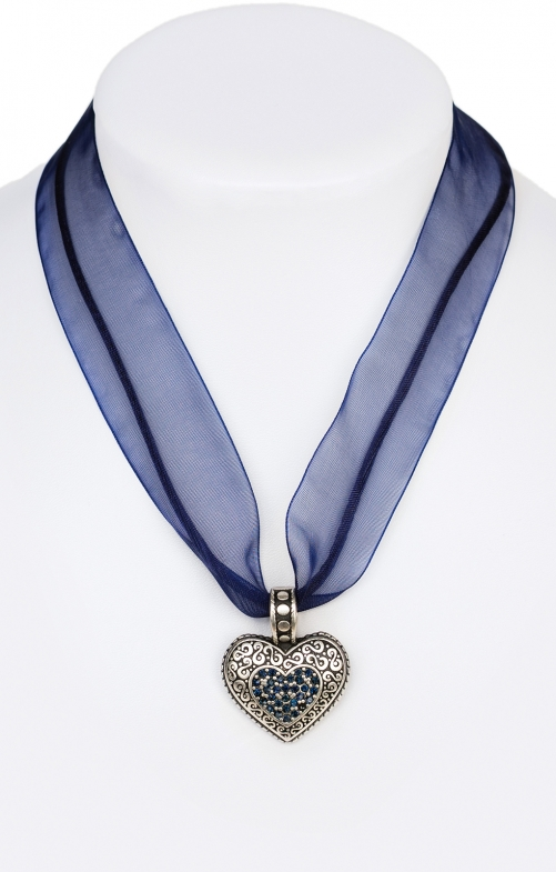 Traditional necklace with heart 9361-CB blue