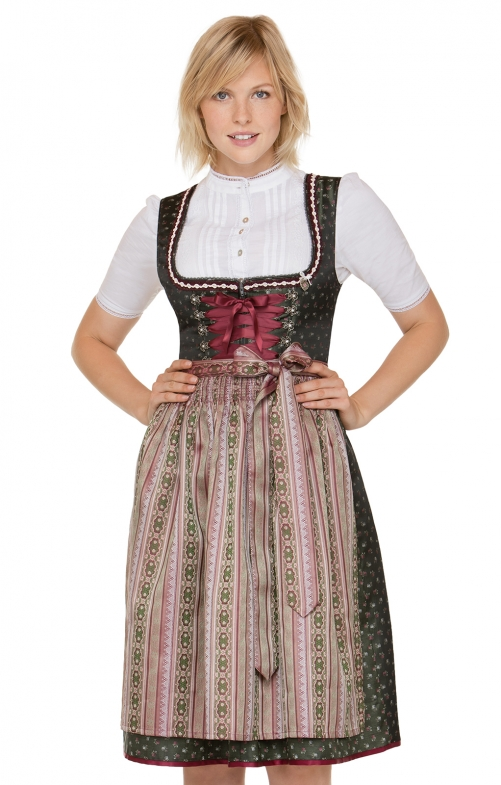 German Midi dirndl 2pcs. Marina green pink 65 cm