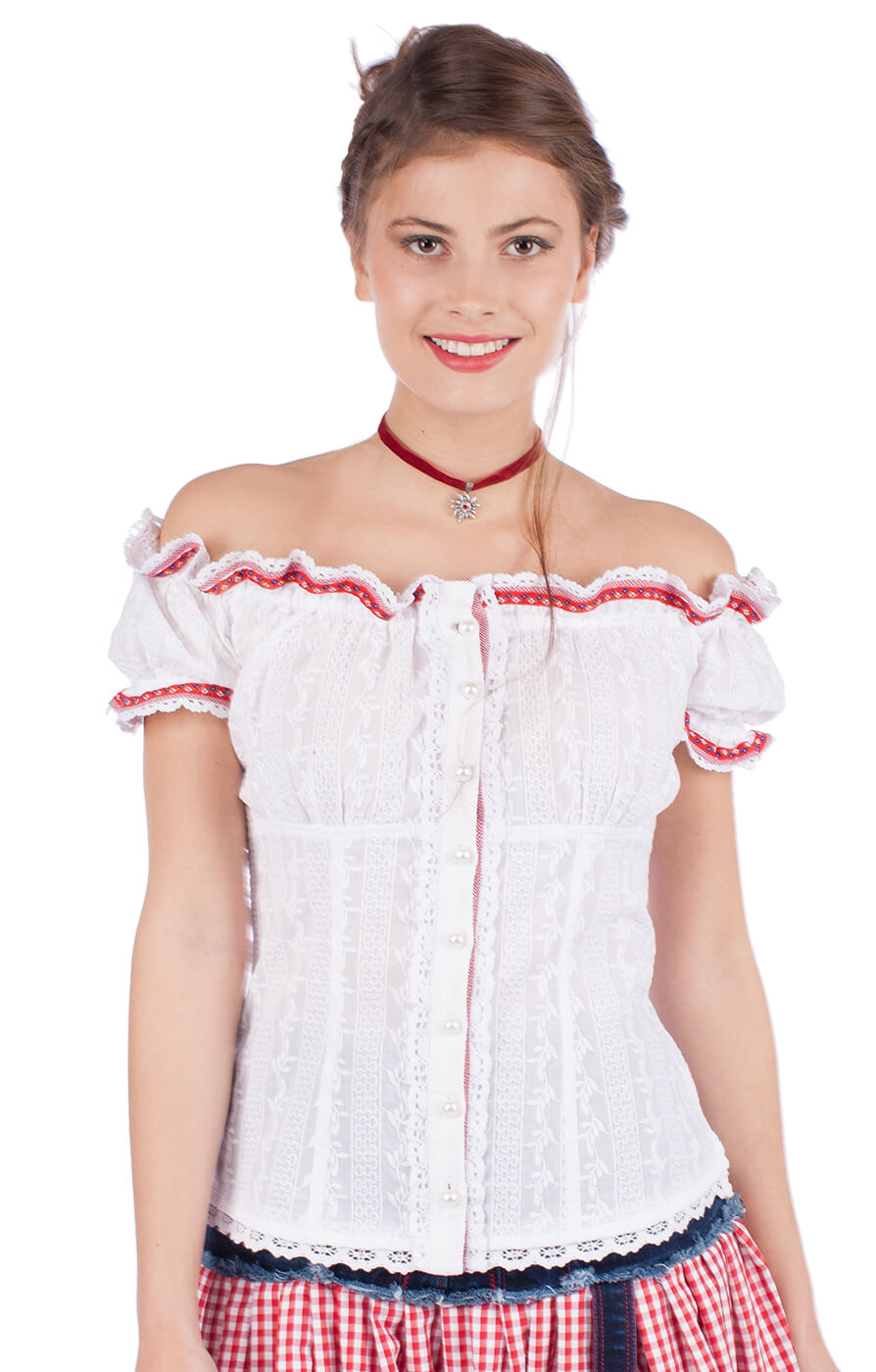 Traditional blouse 33840-1 white red von Krüger Dirndl