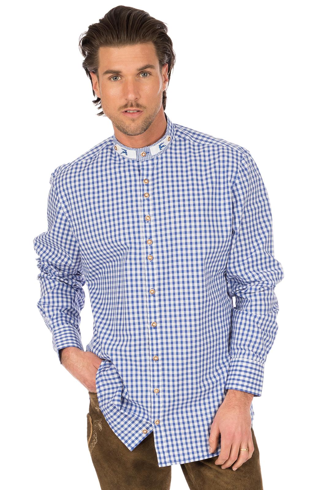 German traditional shirt Pfoad blue von OS-Trachten