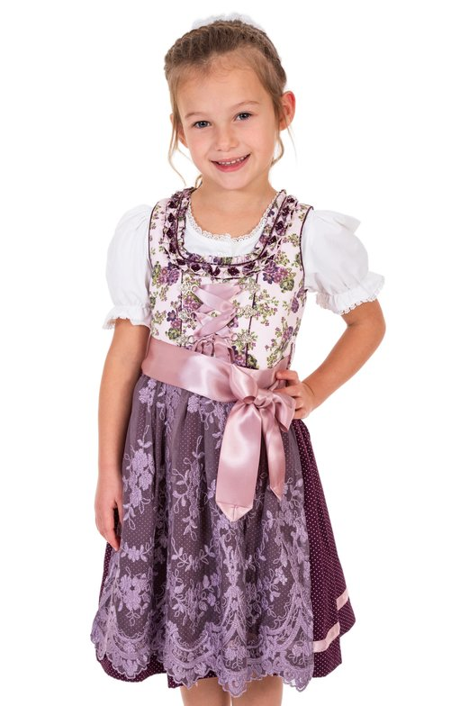 Traditional Children dirndl DANNILEIN-KIDS mauve blackberry