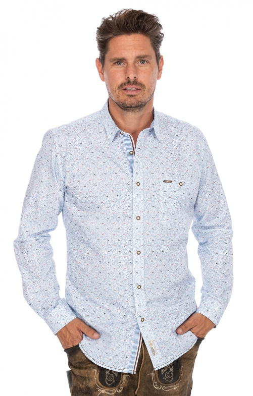 German traditional shirt long sleeve JAN blue