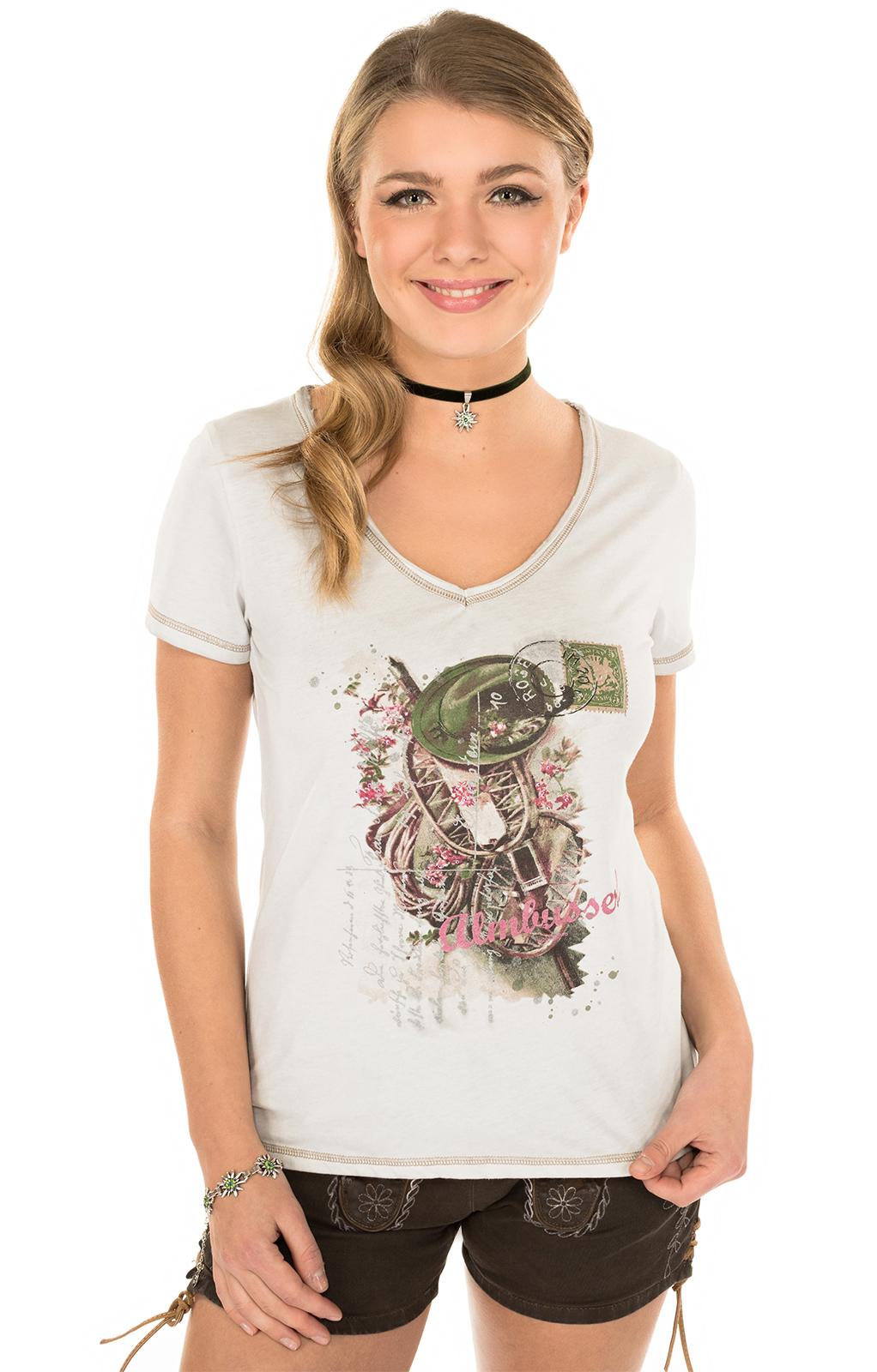 Trachten T-Shirt K06 ALMBUSSERL natur von Marjo