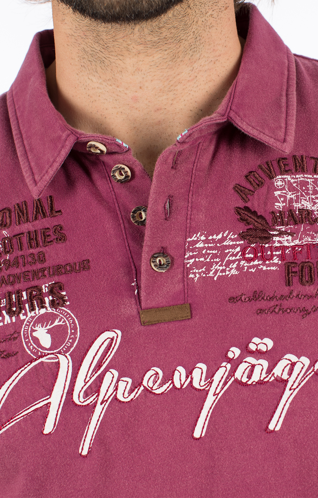 weitere Bilder von Trachten T-Shirt E09 - ALPENJAEGER bordeaux