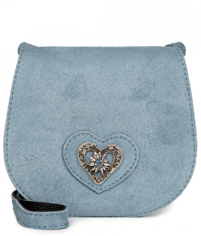Traditional leather bag with heart TA30340-8489 gray blue