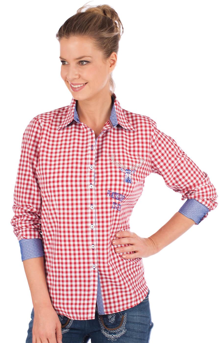 Trachtenkarobluse CORINNA rot karo Hemdblusenstil von OS-Trachten