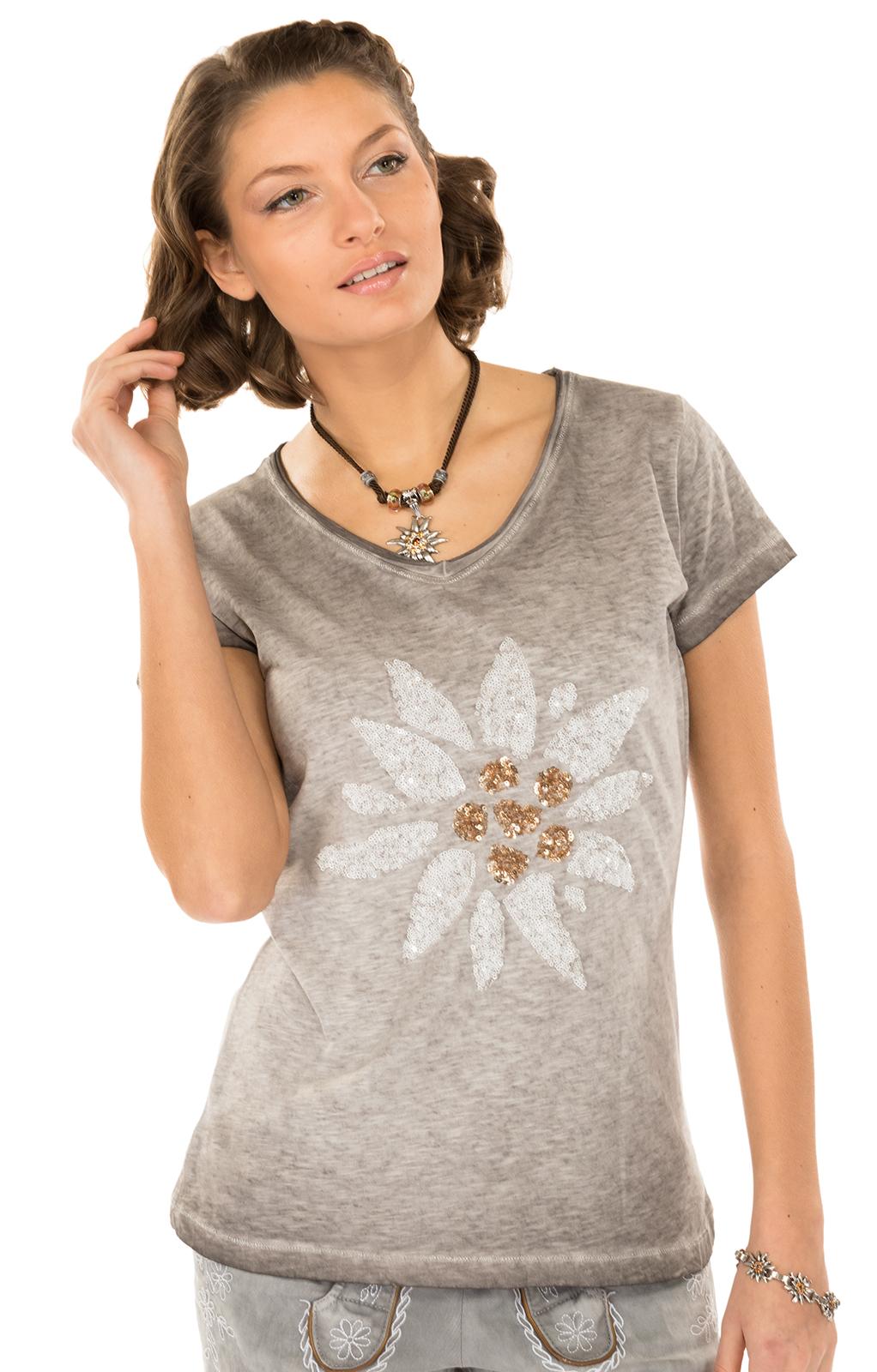 Trachten T-Shirt MISSY grau Edelweiss von Hangowear