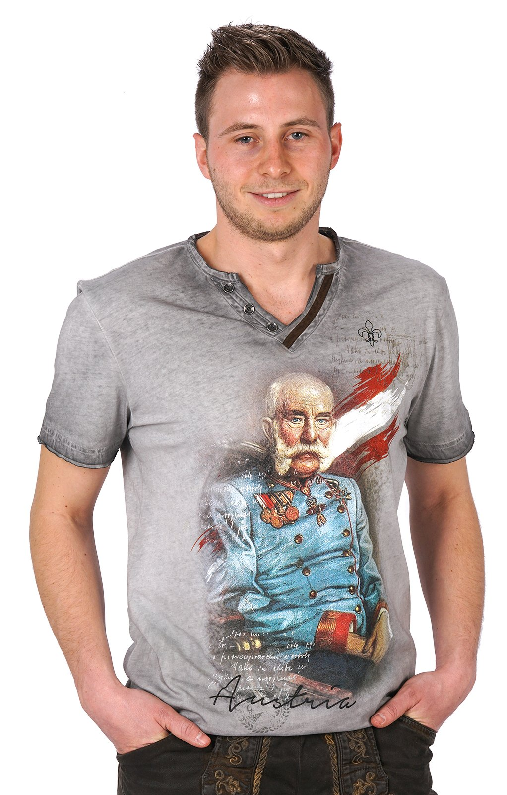 Trachten T-Shirt FRANZ-JOSEF grau von Hangowear