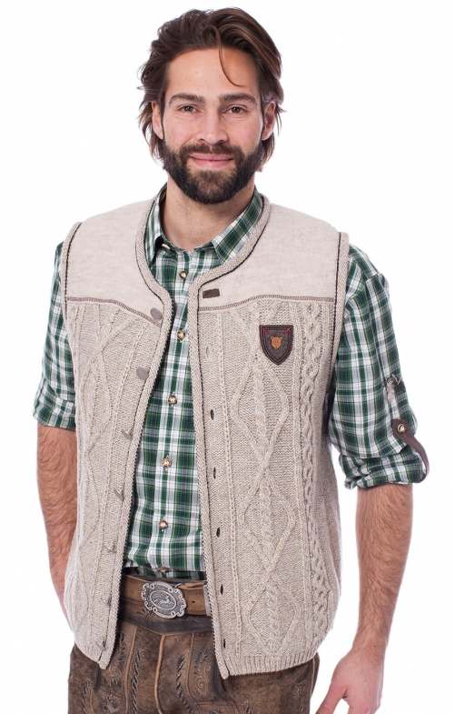 German knitted waistcoat DURBAN nature