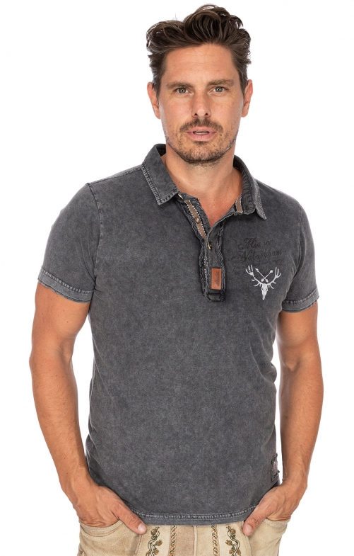 Trachten Polo T-Shirt LINUS anthrazit