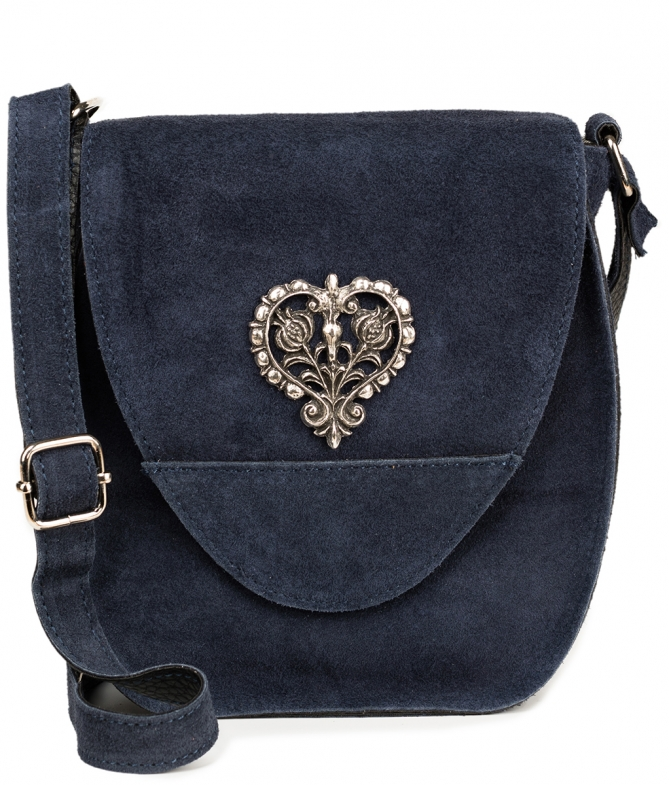 Traditional leather bag with heart TA30410-8525 blue