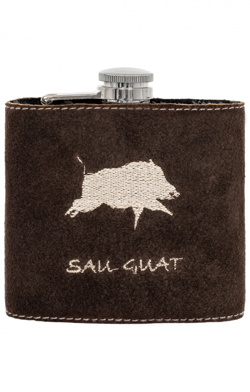Hip flask with leather WILDSCHWEIN brown