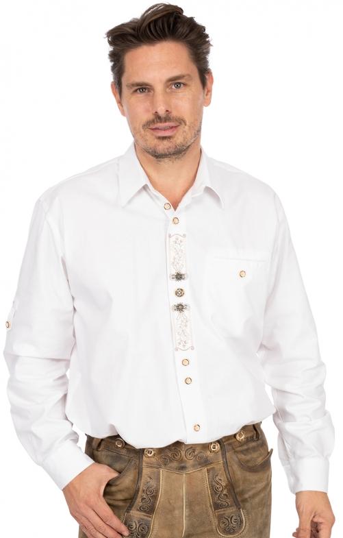 Trachtenhemd BENNO Sticklegende Krempelarm weiss
