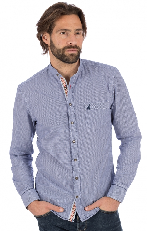 German traditional shirt long sleeve FAIT blue