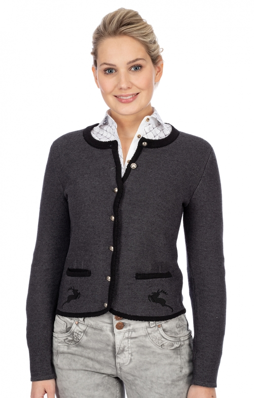 Strickjacke LUCY anthrazit schwarz