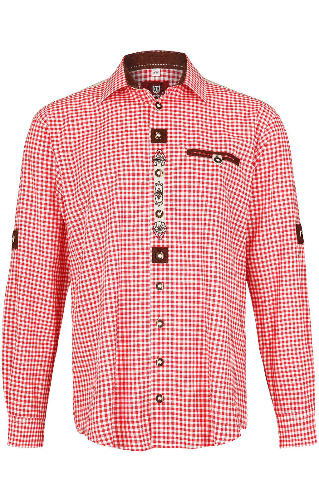 weitere Bilder von Trachtenhemd Krempelarm BELINI Karo weiss rot