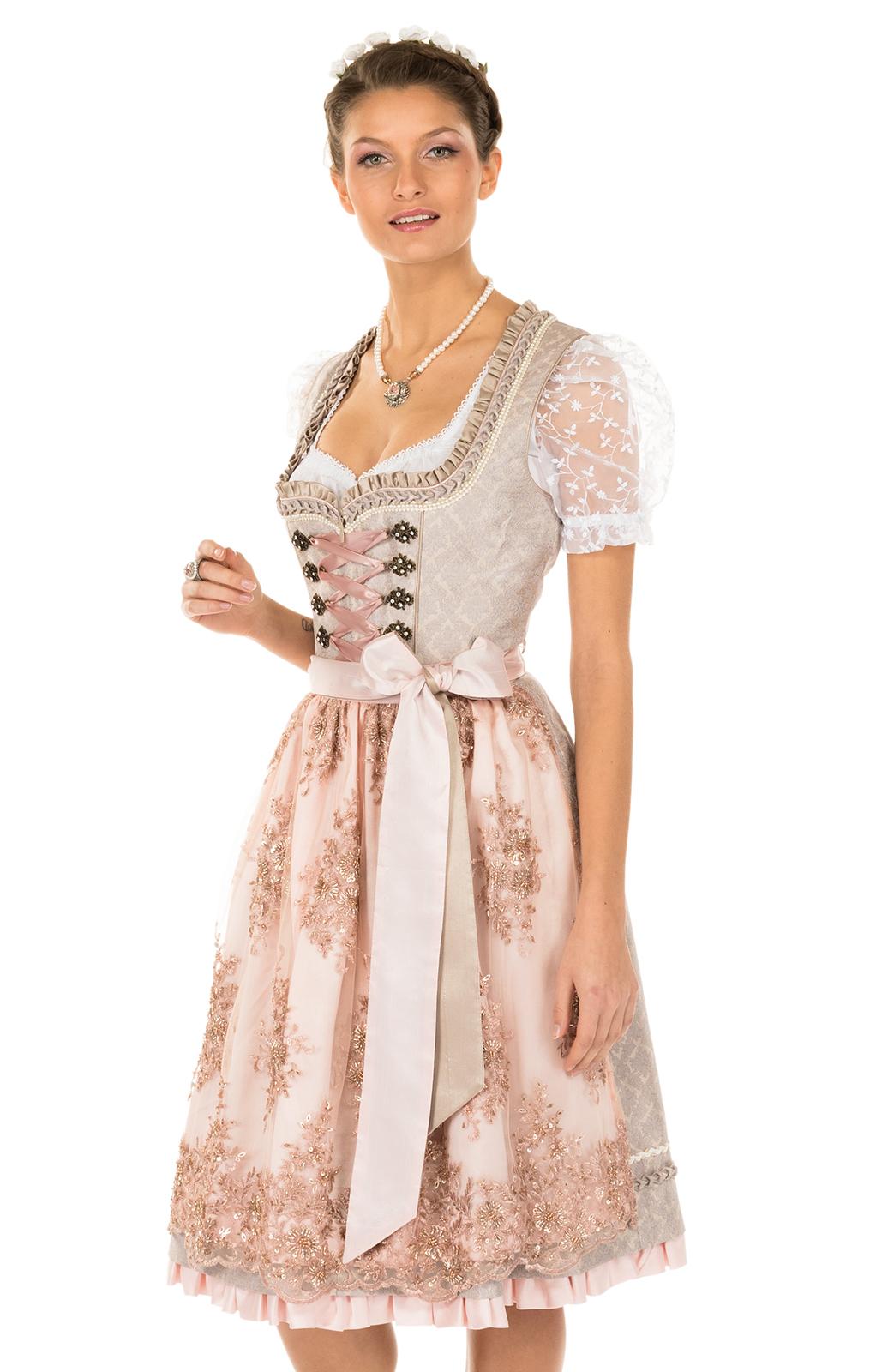 Mididirndl 2tlg. 60cm ROSE beige rose von Krüger Dirndl