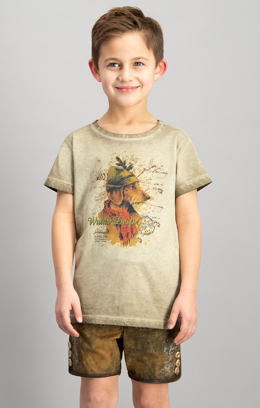 Children traditional shirt MONTY junior sand von Stockerpoint