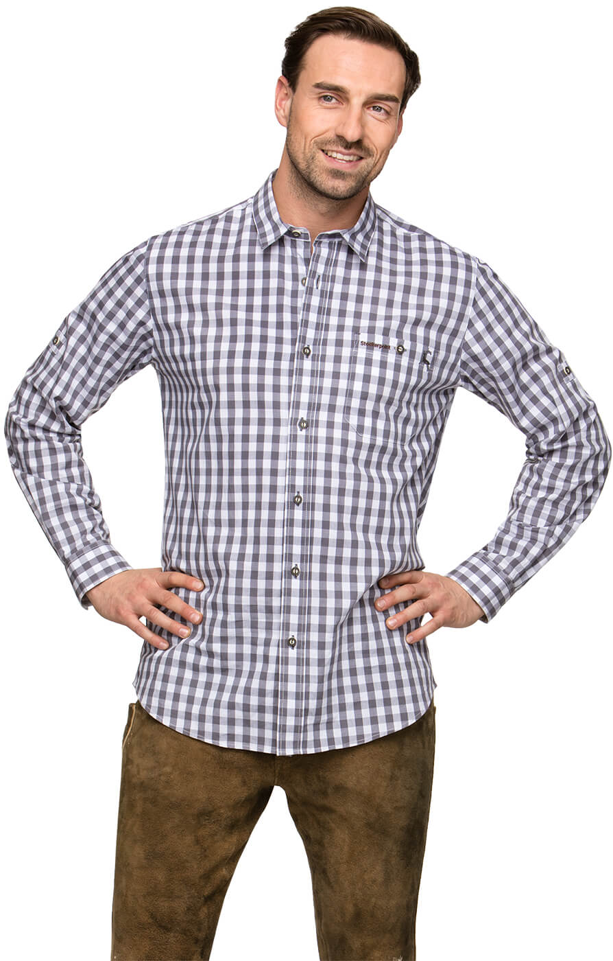 German traditional shirt MITCHEL gray von Stockerpoint