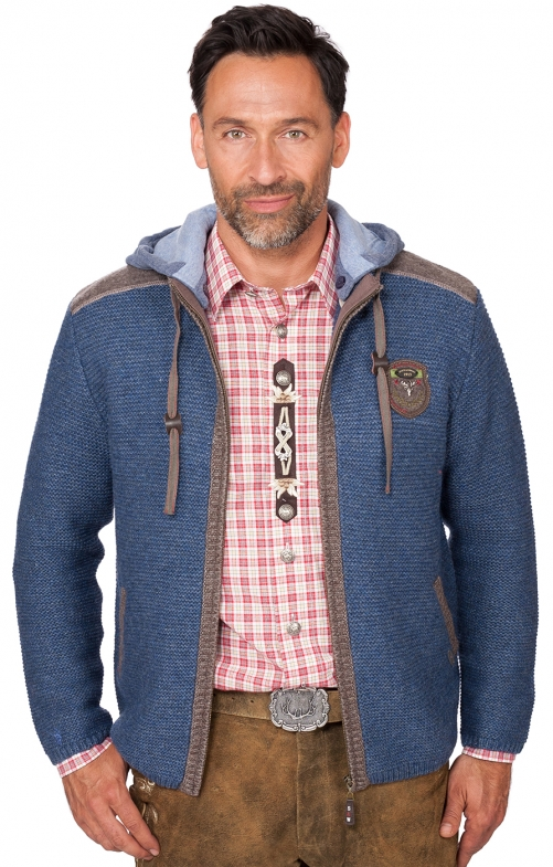 Traditional german cardigan DAKAR jeans blue
