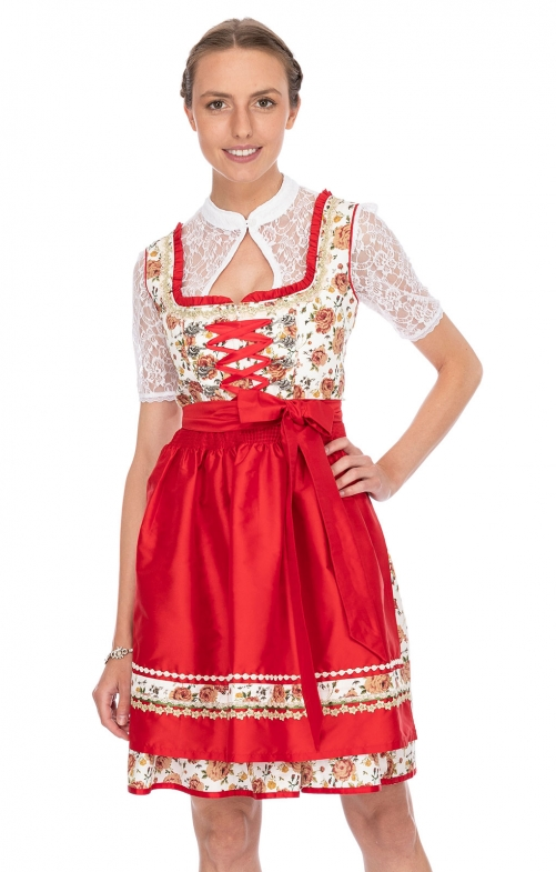 Mini Dirndl 2pz. 55 cm ASTORIA rossa