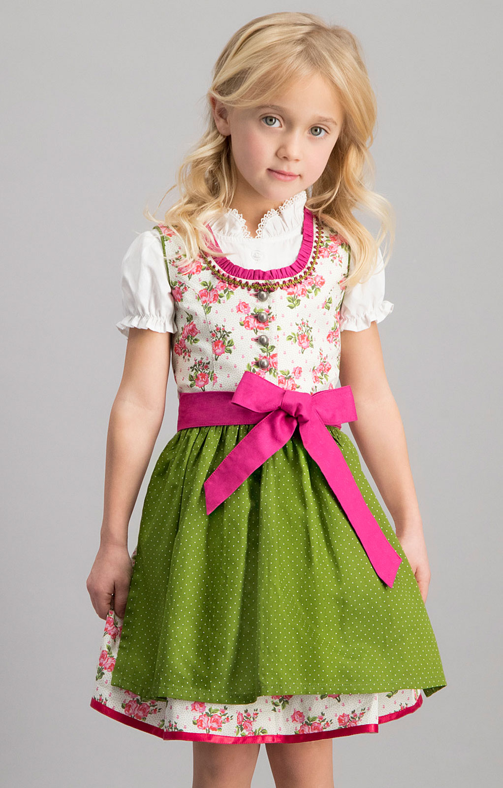 Traditional Children dirndl 3 pcs. MONI pink green von Stockerpoint