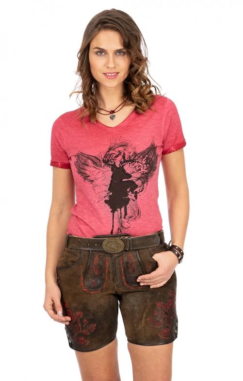 Pantaloni di pelle EVERL antico ziller rosso