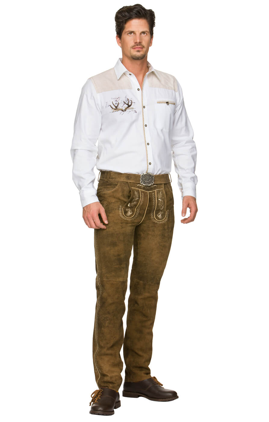 German leather trousers long with belt Julius havanna von Stockerpoint