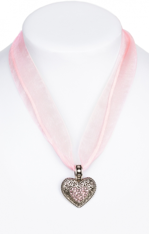 Traditional necklace with heart 9361-CB pink