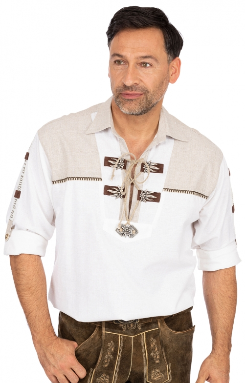 Trachtenhemd BARTHO Krempelarm weiss