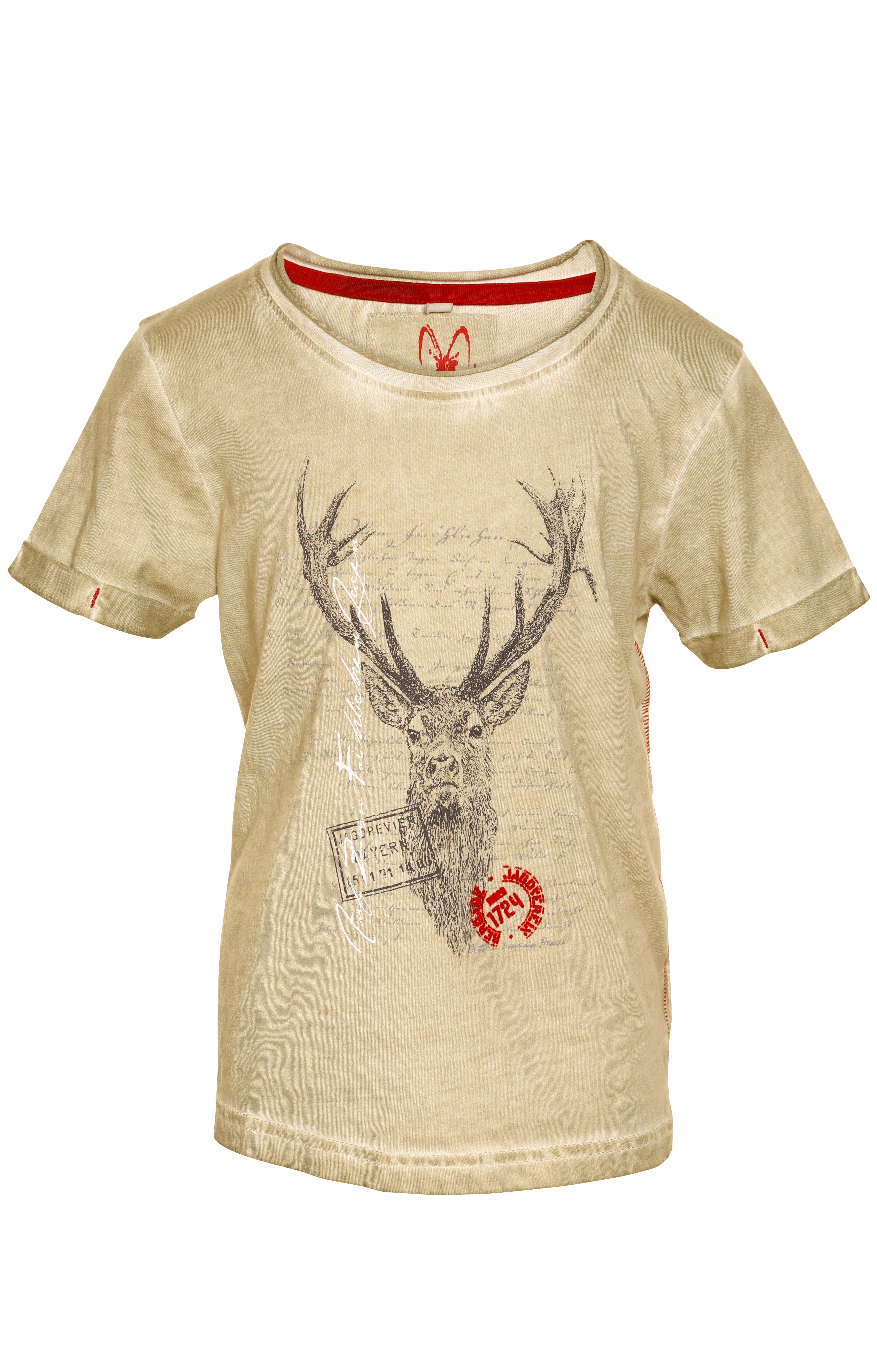 weitere Bilder von Trachten Kinder T-Shirt M04 JAGDLIED KIDS beige