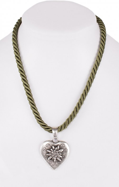 Traditional necklace cord heart K100-8144 oliv
