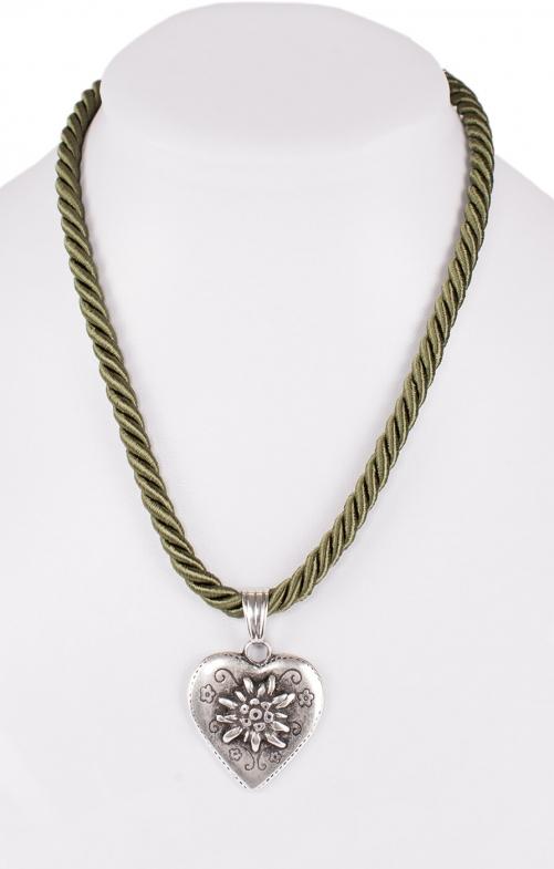 Halskette K100 Kordel Herz mit Edelweiss oliv