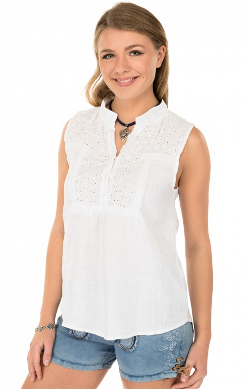 Trachtenbluse MELINA-T ohne Arm weiss