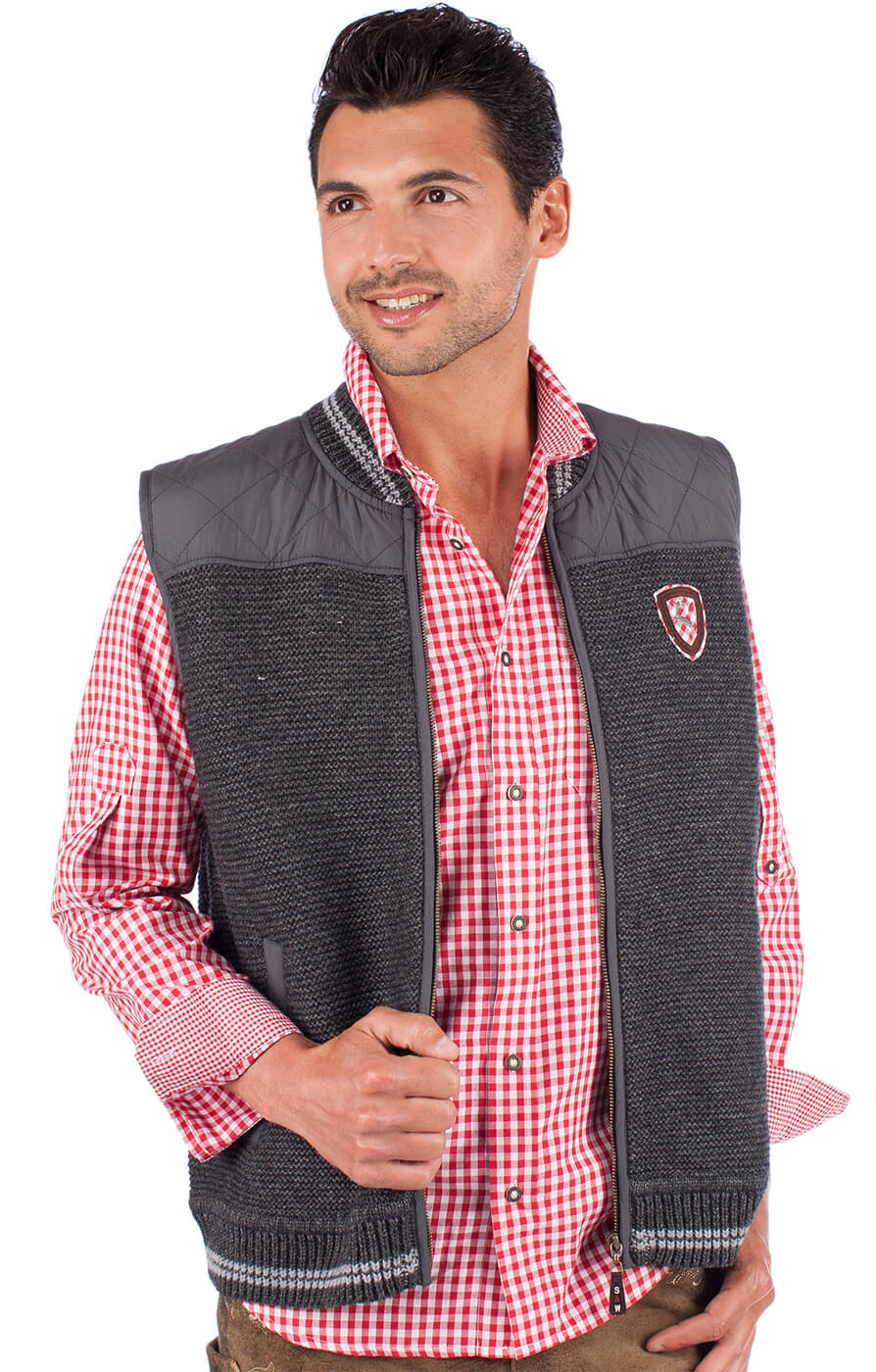 German knitted waistcoat EDINBURGH dark gray von Spieth & Wensky