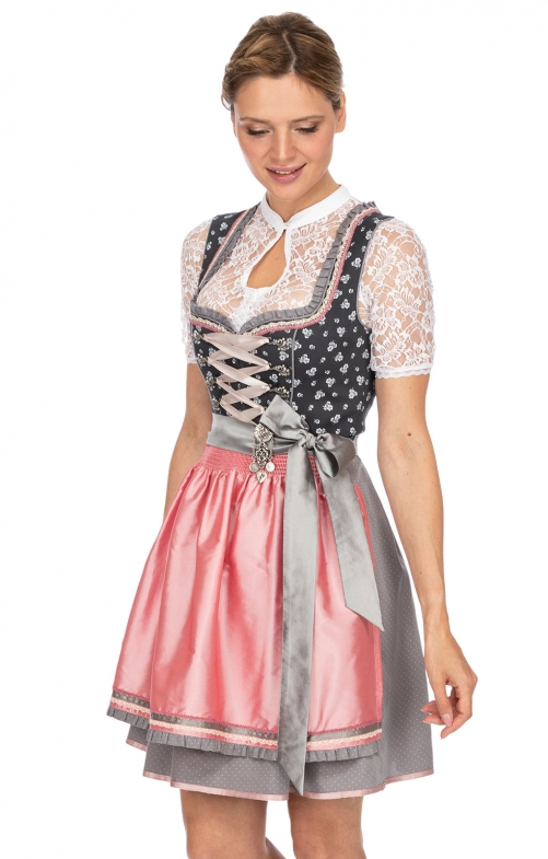 Mini Dirndl 2tlg. 50 cm SOLEA anthrazit rose