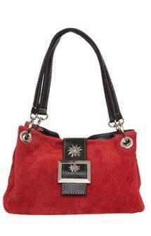 verspielte Trachtentasche Leder, rot