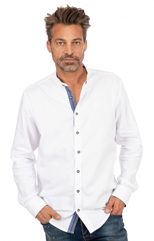 Stehkragenhemd RAFAEL weiß blau