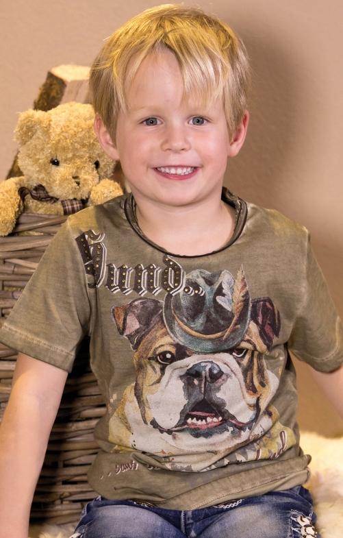 Children traditional shirt G18 - HUND KIDS olive